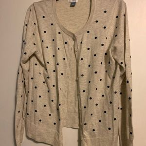 Old Navy Cardigan Sweater. Embroidered polka dots
